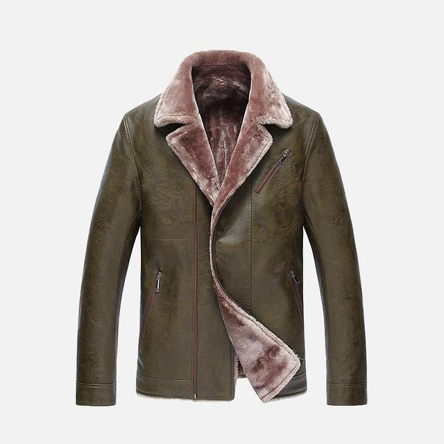 More New Winter Warm Fur Clothing Male Sheep Leather Jacket Lapel Middle-aged Men's Dad