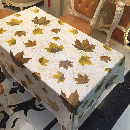 Home PVC Tablecloth Waterproof Oilproof PVC/ Fabric Plastic Maple Leaf  Printed Tablecloths Tischdecke Wedding Decoration