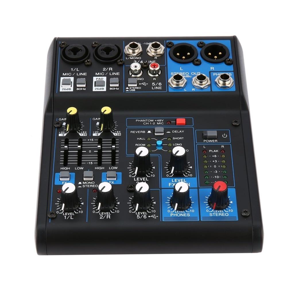 Power Audio DJ Mixer EU Plug 4 Channel Professional Power Mixing Amplifier USB Slot 16DSP +48V Phantom Power for Microphones professional 48v dual phantom power supply for scm series microphones pantom powe