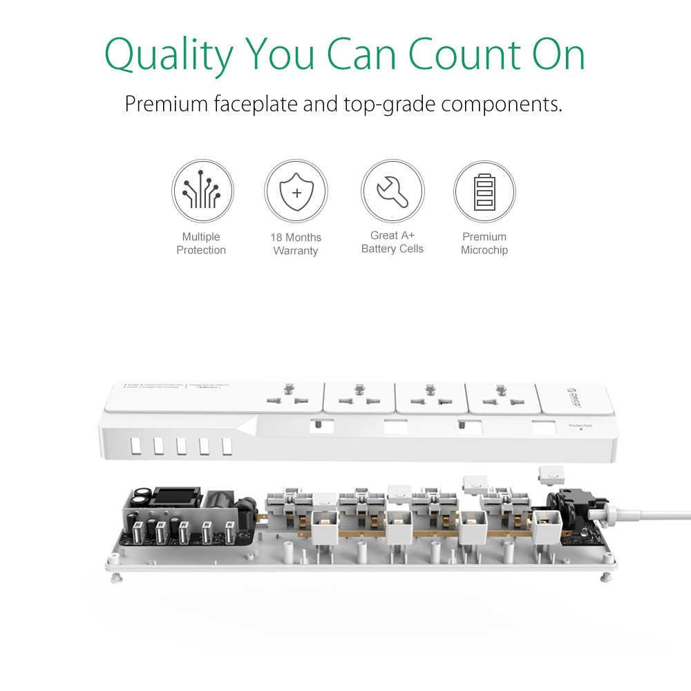 ORICO Smart USB мощность полосы офис стабилизатор напряжения 4 AC мощность розетки с 5 USB зарядное устройство порты 1,5 м кабель EU/US/UK Plug
