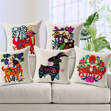 ФОТО wholesale high quality wedding party gift cushion cover wedding paper-cut chinese style festive sheep home car sofa pillowcase