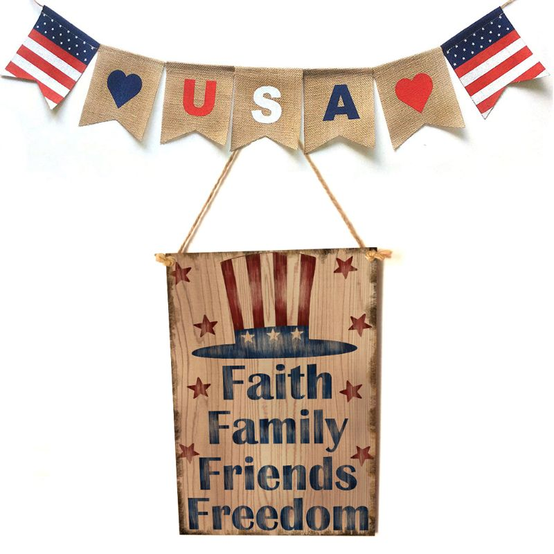 Vintage Wooden Hanging Plaque Faith Family Friends Freedom Sign Board Wall Door Home Decor Independence Day Party Gift-in Plaques & Signs from Home & Garden