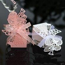 50 шт. Ангел девочка лазерная резка полый карета подарок коробка сладостей с лентой на заказ детский душ Свадебная вечеринка украшения
