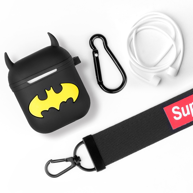 Custom silicone earphone case for apple airpods cute diy Batman Cartoon earphone Protective case accessories