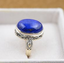 Lapis rings S925 silver inlaid silver jewelry wholesale new air elliptical white with gold