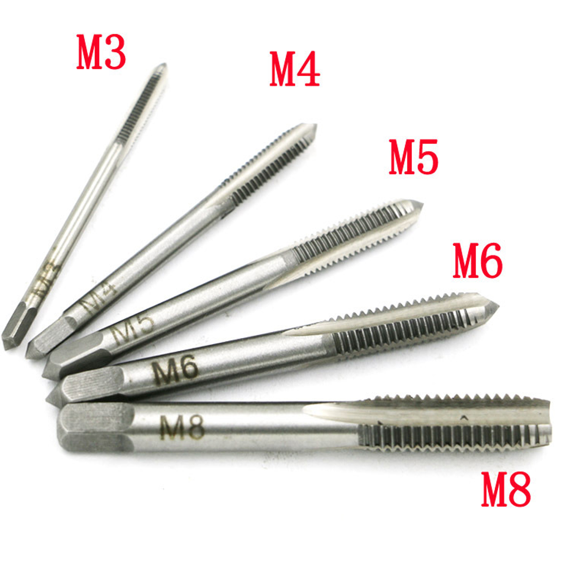 5PCS Screw Thread Tap Drill Bit HSS Metric Plug Hand Tapper Set M3/M4/M5/M6/M8 For Machine Tools