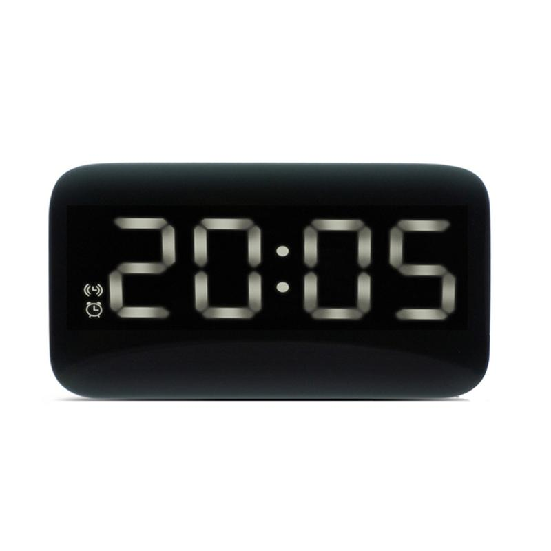 Digital LED Alarm Clock Large LED Display Voice Control Electronic Backlight Desktop Alarm Clock (Black With White LED)