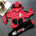 minnie baby boy and girls kids clothes red girls clothing sets Hooded Sweatshirts + pants girls clothes