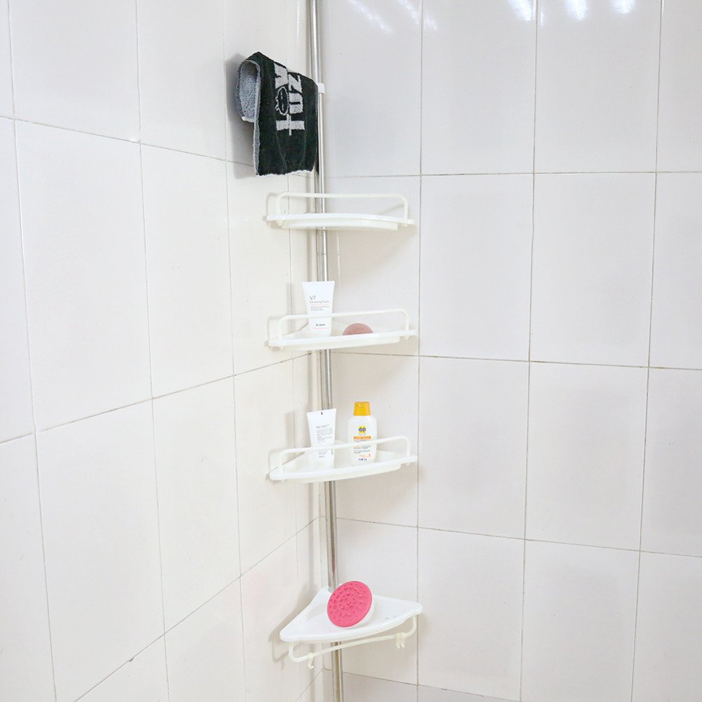 Bathroom Fixtures 3 Layer Plastic Bathroom Shelf Storage Shelf Bath Room Floor Shampoo Rack Corner Shelf Towel Basket Home Garden Products Elegant And Sturdy Package