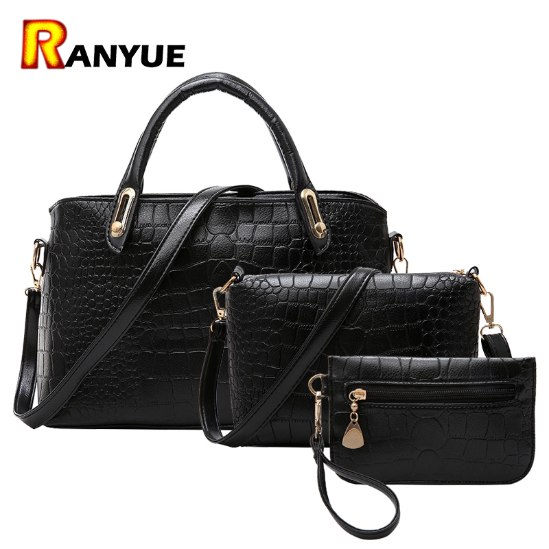 3pcs Crocodile Women Bags Set Women Messenger Bags Handbags Set Pu Leather Composite Bag Women Handbag