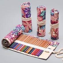 лучшая цена Kawaii School Pencil Case 12/24/36/48/72 Holes Roll Pencilcase Penal for Girls Boys Large Pen Bag Stationery Pouch Penalties Box