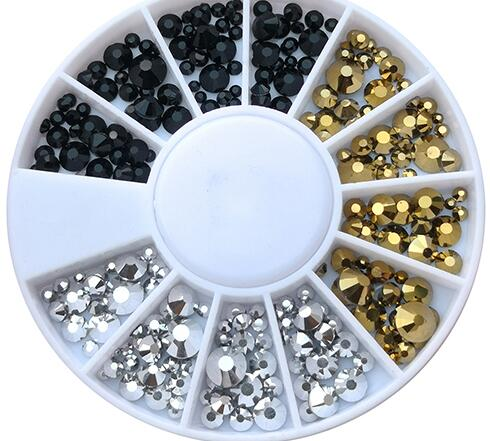 Купить с кэшбэком 4 Designs 1pc Multi-size Opal Rhinestone 3D Nail Art Wheel Crystal Rhinestone Flatback Bottom Nail Art Decoration Gems 3 colors