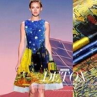 High Quality Night Cafe Digital Print Stretch Silk 93 Satin Fabric Blue Yellow Contrast Color Heavy