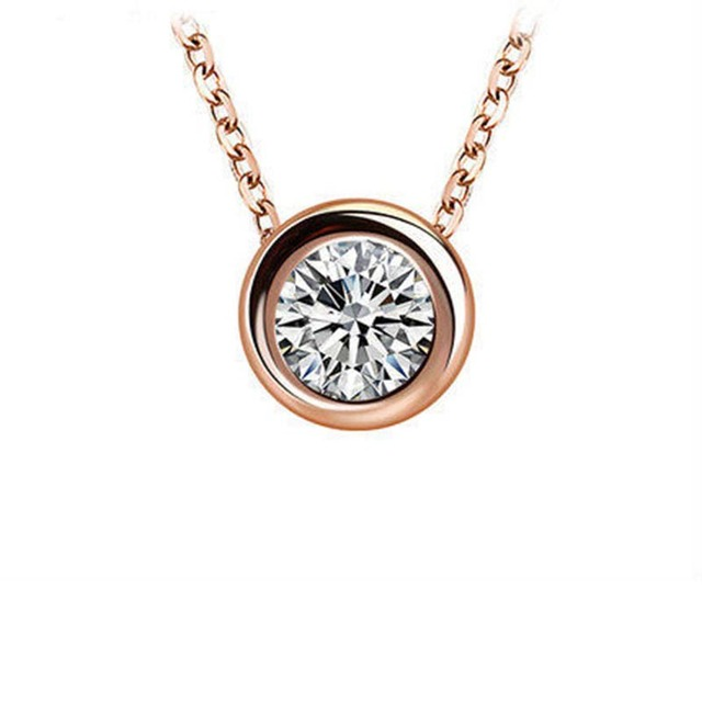 Sterling Silver Rose Gold Necklace Simple Round Necklace Collarbone