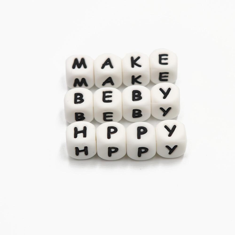 100pc επιστολή σιλικόνης Beads.BPA δωρεάν, DIY - Φροντίδα μωρού - Φωτογραφία 4