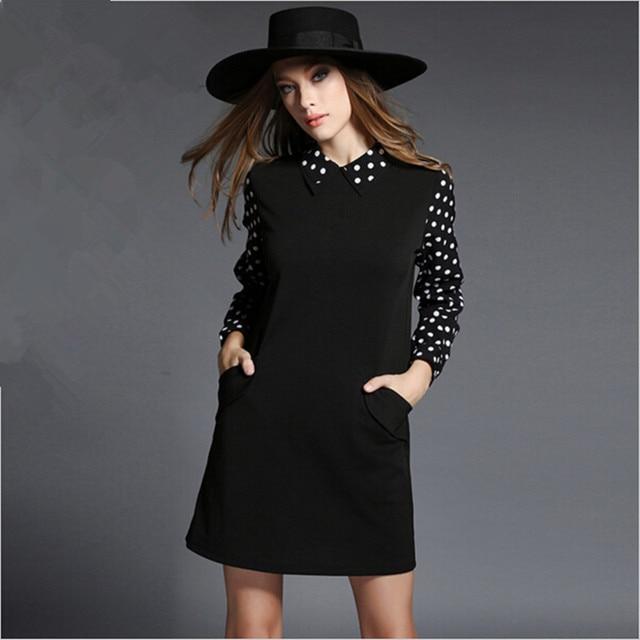Евро Стиль 4XL Плюс Размер Женщины Черный Dress Осень Зима 2017 Vestidos С Длинным Рукавом Случайные Свободные Dot Dress Roupas Femininos 51440