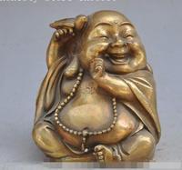 S2997 China Buddhism bronze copper bird Maitreya Buddha laugh lucky Auspicious Statue