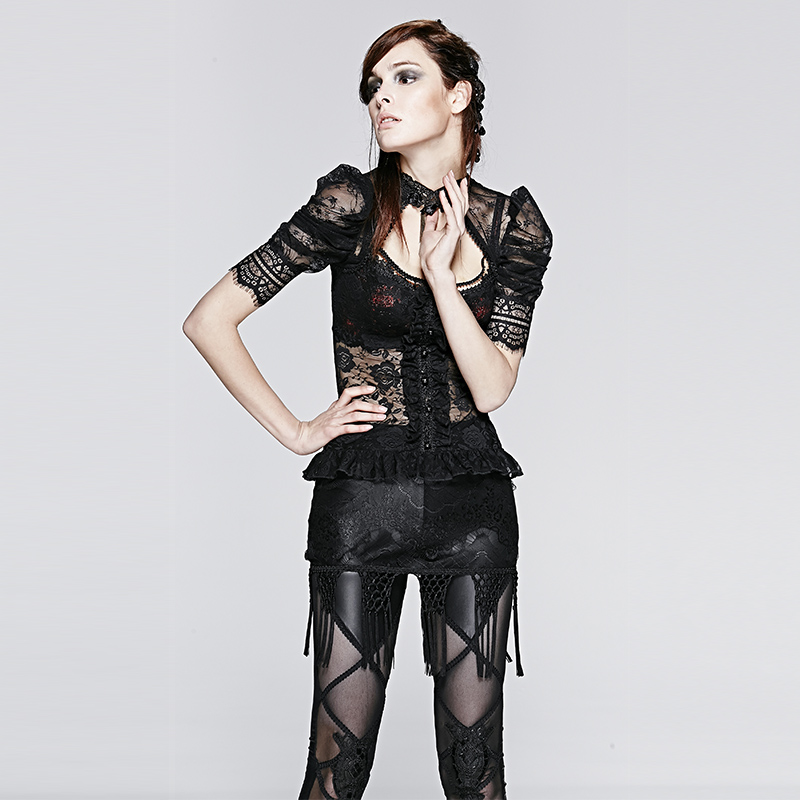 Gothic Women Semitransparent Lace Tassels Short Skirt Sexy Black Lace Mini Skirts