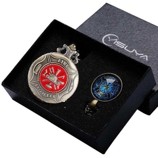 Vintage Bronze/Red Fire Fighter Quartz Pendant Pocket Watch Chain Necklace Jewel