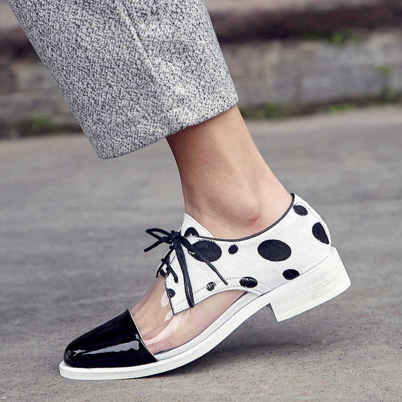 XiuNingYan Genuine Leather Fur Flats 2019 Spring Casual Plus Size 33-42 Oxfords Shoes Black Leopard Print Woman Horsehair Flats