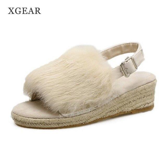 4c20f3b67 € 23.02  XGEAR Automne Femmes Sandales Peep Toe Boucle Souple Fourrure  Semelle Confortable Mode Wedge Plate Forme Chaussures de Femmes Taille 35  40 ...