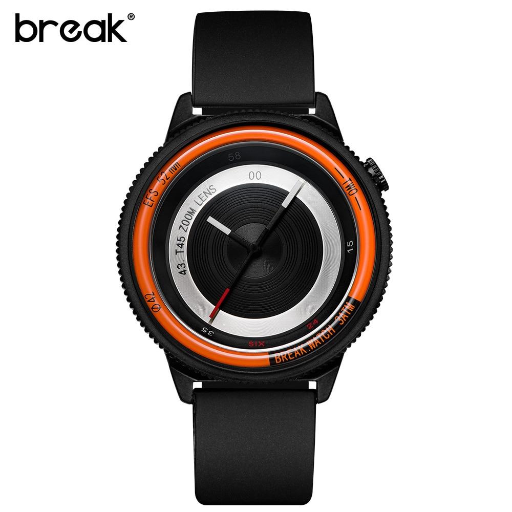 BREAK Luxury Brand Rubber Band New Fashion Casual Men Women Unisex Waterproof Quartz Wristwatches Unique Creative