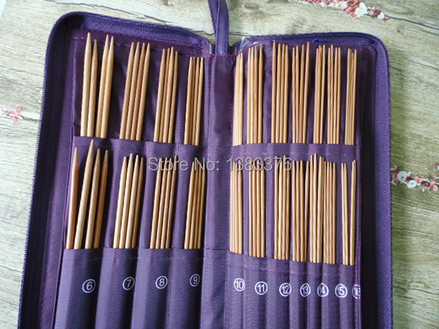 Bamboo Case Circuler Needle New NEEDLE Stainless Straight Needles Set Knit Weave Ring Stitches Knitting Craft 611