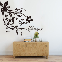 Spa Therapy Words Flower Beauty Salon Wall Sticker Hair Nail Manicure Window Decal Decor Vinyl