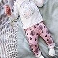 2016 Moda Outono da Menina conjunto de Roupas de algodão longo-manga comprida T-shirt + calças dos desenhos animados do bebê recém-nascido Conjunto de roupas terno menina SY170