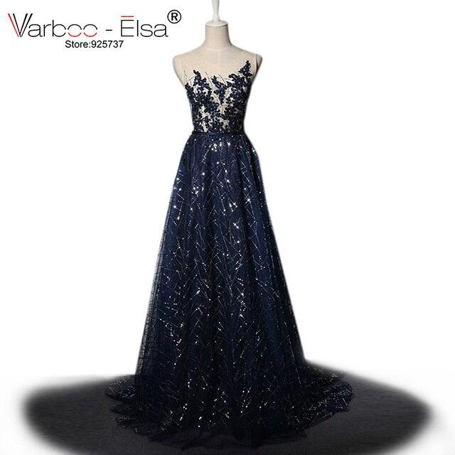 Abendkleid lang blau pailletten