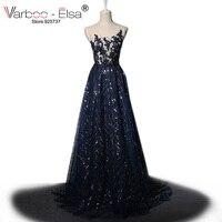 VARBOO_ELSA Glitter Long Prom Dress 2018vestido de festa Sleeveless Beaded Crystal Evening Dress Blue sequin High Quality Custom