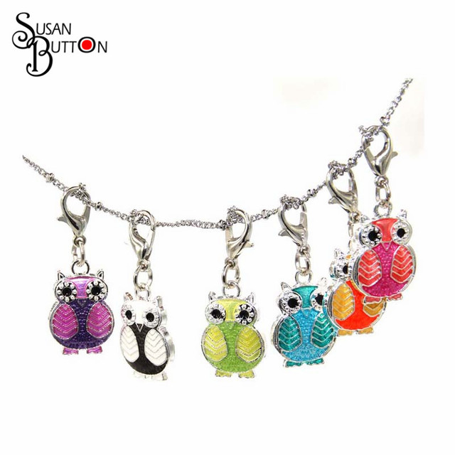 Aliexpress buy hot sale mixed enamel owl floating pendant hot sale mixed enamel owl floating pendant charms with lobster claw clasp charms floating pendant for aloadofball Image collections