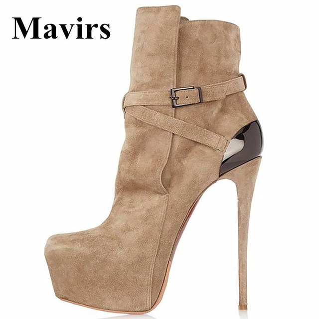 b1e40526c89d Mavirs Brand Platform Shoes Women Ankle Boots 2018 Spring Faux Suede Bride Brown  High Heels Booties 16CM Stiletto US Size 5-15