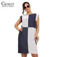 CACNCUT 6XL Plus Size 2019 Summer Dress Women Casual Polka Dot Print Sleeveless Lady Patchwork Large Big 5XL Clothing