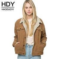 HDY Haoduoyi Winter Casual Braun Cord Lange Hülse Drehen-unten Kragen Denim Jacke Einreiher Grundlegende Frauen Warme Baumwolle mantel