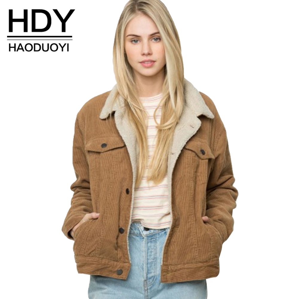 HDY Haoduoyi Winter Casual Brown Corduroy Long Sleeve Turn-down Collar Denim Jacket Single Breasted Basic Women Warm Cotton Coat