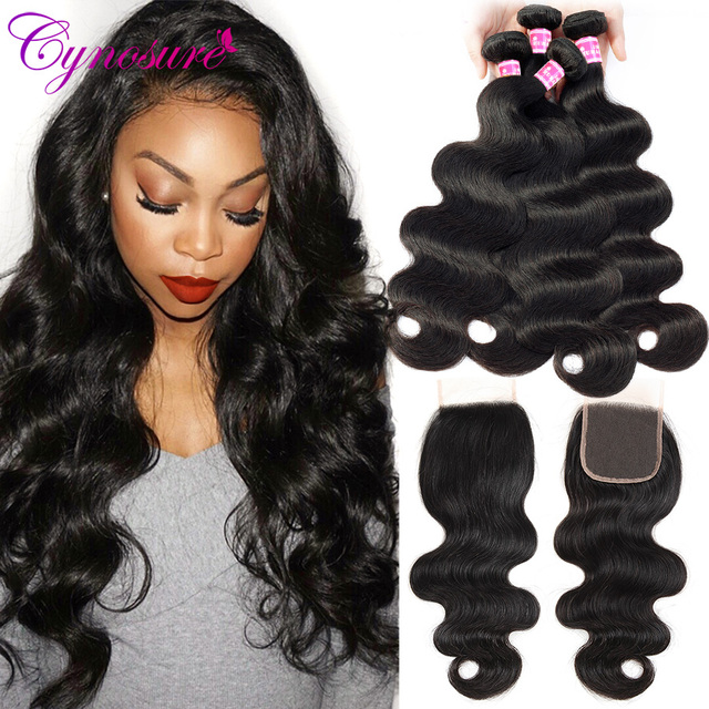 Cynosure Brazilian Hair Weave 4 Bundles With Lace Closure Free Part