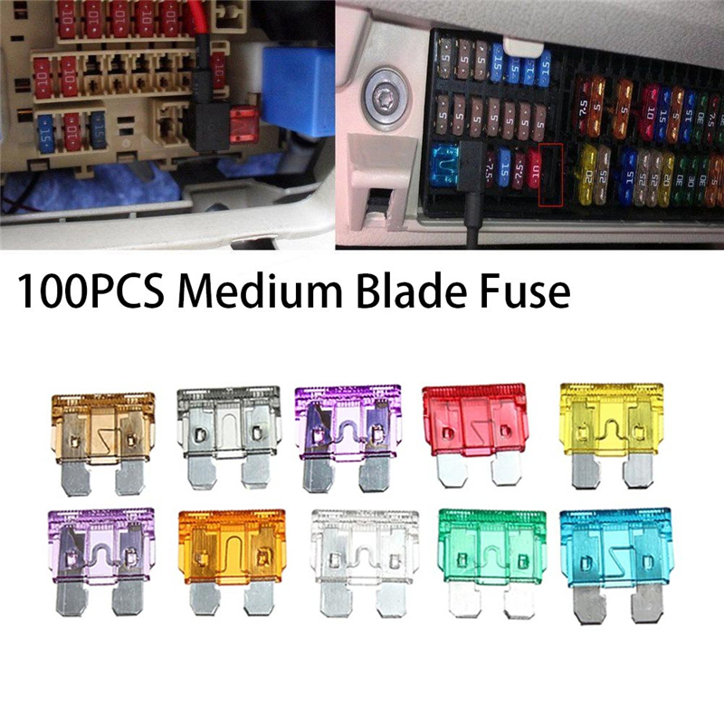 100pcs/set Fuse Standard Medium Blade Car Fuse Auto Fuses Car 3A 5A 7.5A 10A 15A 20A 25A 30A 35A 40A Car Accessories standard 120pcs set auto automotive car boat truck blade fuse box assortment 5a 10a 15a 20a 25a 30a power tool accessories