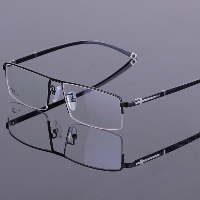 Armações De óculos de Metal Sem Aro Metade dos homens novos Vidros Ópticos Quadro Marca de Moda Oculos de grau 55-17-142mm QP-56200 4 Cor
