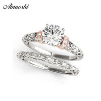 AINUOSHI 925 Sterling Silver Lady Wedding Ring Set Women Engagement Anniversary Round Lovely Bridal Rings Party Jewelry Gifts