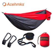 Acehmks náilon dobrável hammock ultraleve parachute acampamento balanço cor vermelho verde azul laranja com 2 correias de árvore duplo xxxl tamanho