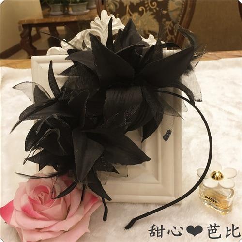 large flower feather headband hair