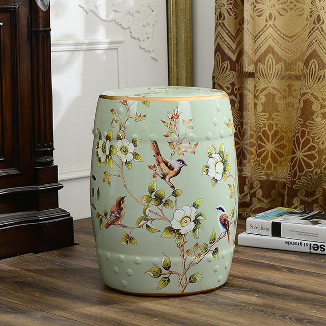 Beautiful flower and bird design chinese ceramic bedroom furniture seat stool