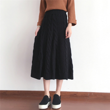 2017 new winter fashion style twist thick needle length skirt sweater elastic waist solid color big skirt