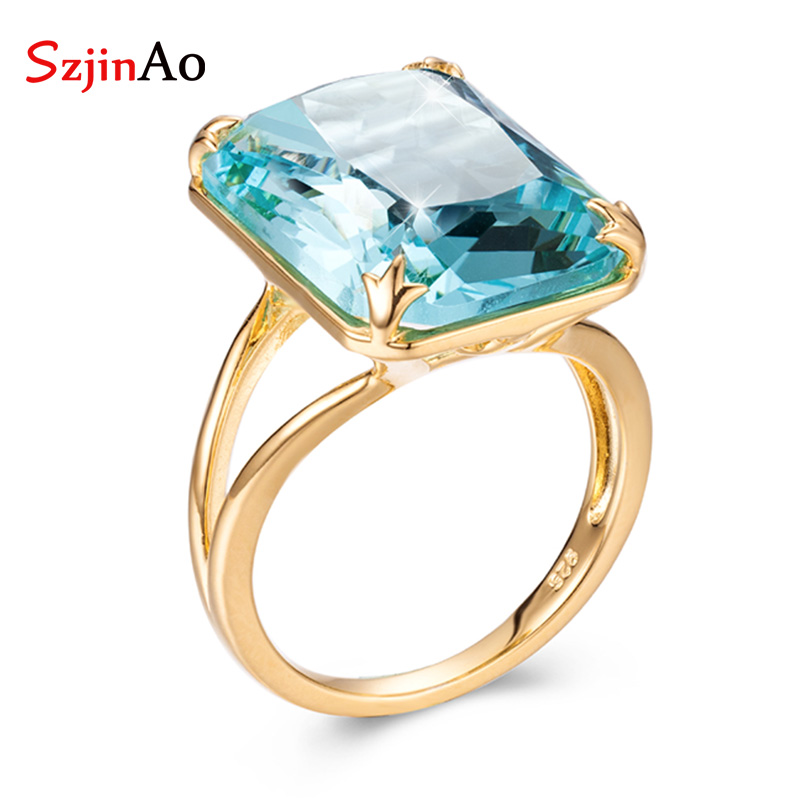 SzjinAo Wholesale Handmade Yellow Gold Cover 925 silver Cover gold Rings For Women March Birthstone Aquamarine Ring Fine Jewelry szjinao aquamarine ring real 14 k yellow gold rose ring handmade weeding engagement rings