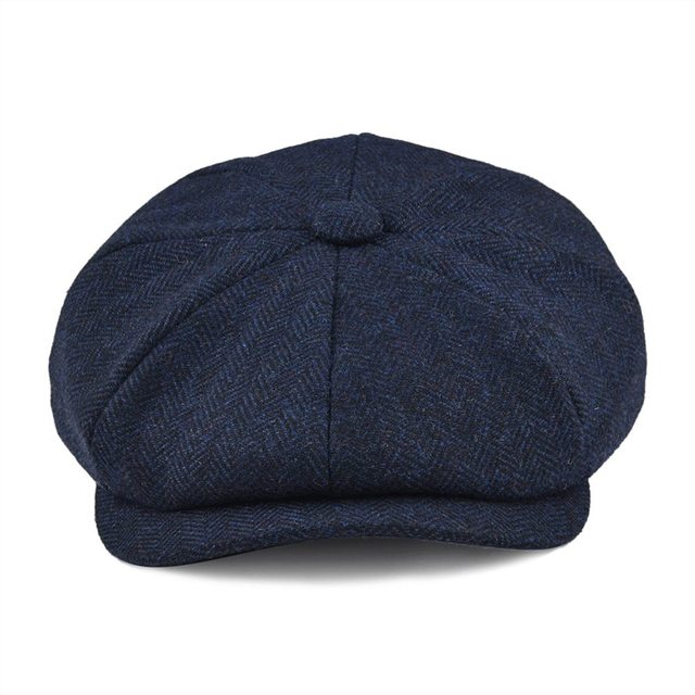 BOTVELA Wool Tweed Newsboy Cap Herringbone Men Women Gatsby Retro Hat Driver Flat Cap Black Brown Green Navy Blue 005 1