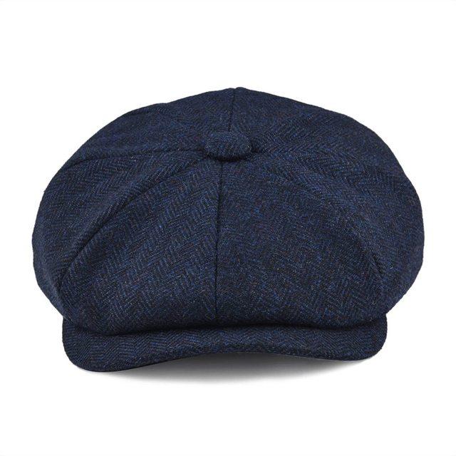BOTVELA Wool Tweed Newsboy Cap Herringbone Men Women Gatsby Retro Hat Driver Flat Cap Black Brown Green Navy Blue 005 1