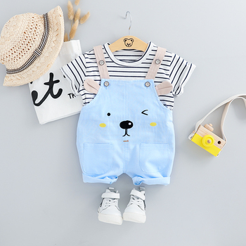 HYLKIDHUOSE 2019 Summer Baby Girls Clothing Sets Infant Clothes Suits Stripe T Shirt Strap Shorts Kids Children Vacation Costume 2