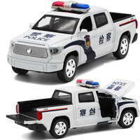 For Toyota Smooth Road Car Model Light Music Pull Back Political Patrol Electricity Urban Management Pickup Truck Model Toy Car