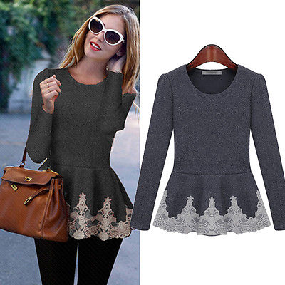 New Womens Ladies Flared Stretchy Peplum Frill Top Slim Long Sleeve Blouse Shirt title=